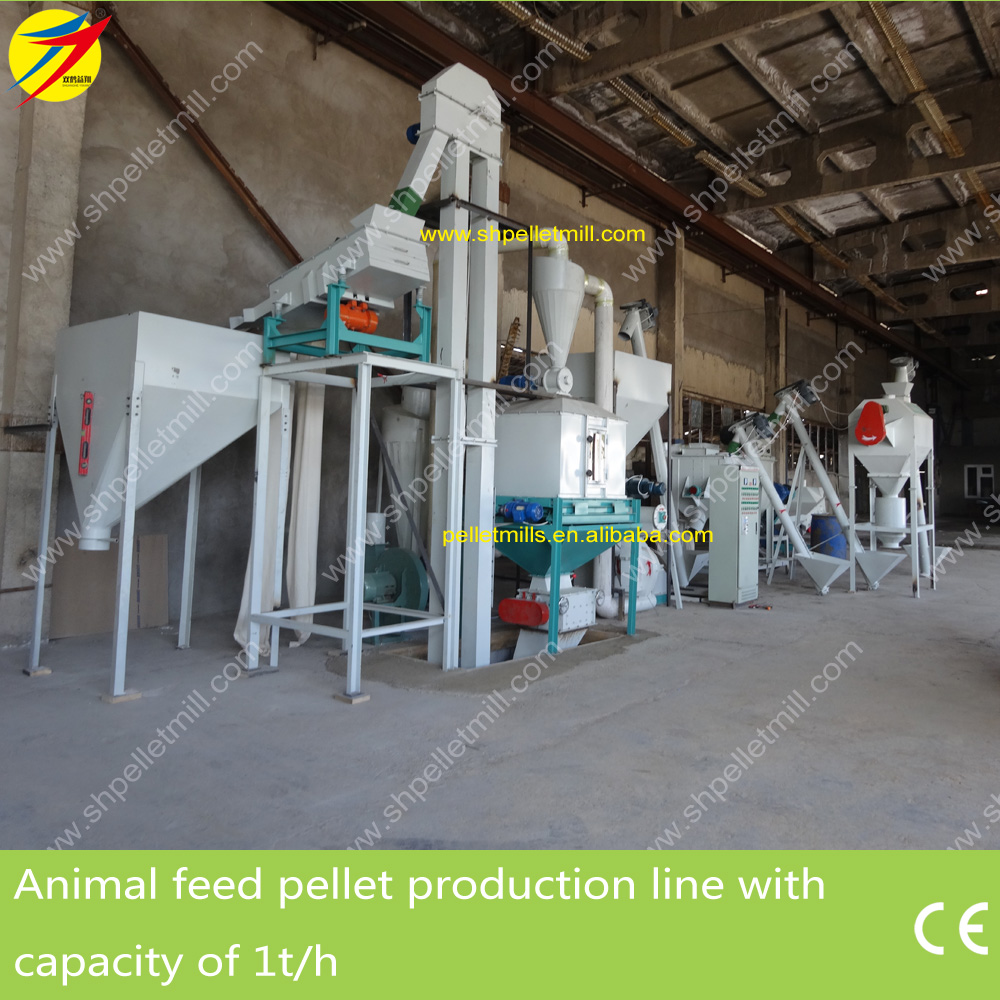 animal feed pellet production line 1ton per hour